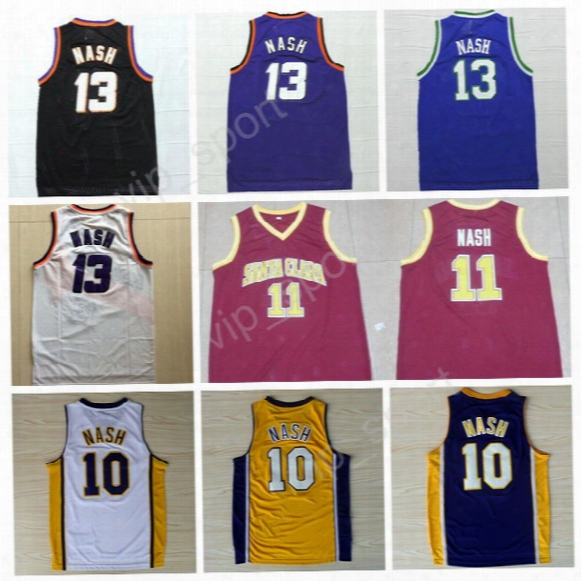 2017 Stitched 13 Steve Nash Basketball Jerseys Sale Cheap Throwback Santa Clara Broncos 10 11 Steve Nash Jersey College Black White Yellow