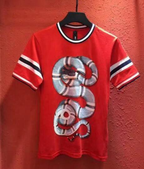 2017 Summer Italia Brand Cotton Men T-shirt Herren King Snake Tops Man Casual T-shirts Short Sleeve Hip Hop Fitness Tshirt Red