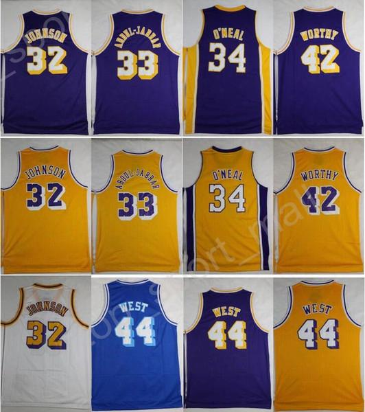 2017 Vintage Basketball Jerseys Throwback 33 Kareem Abdul Jabbar 32 Magic Johnson 42 Artest Worthy 44 Jerry West 34 Shaquille Oneal O Neal
