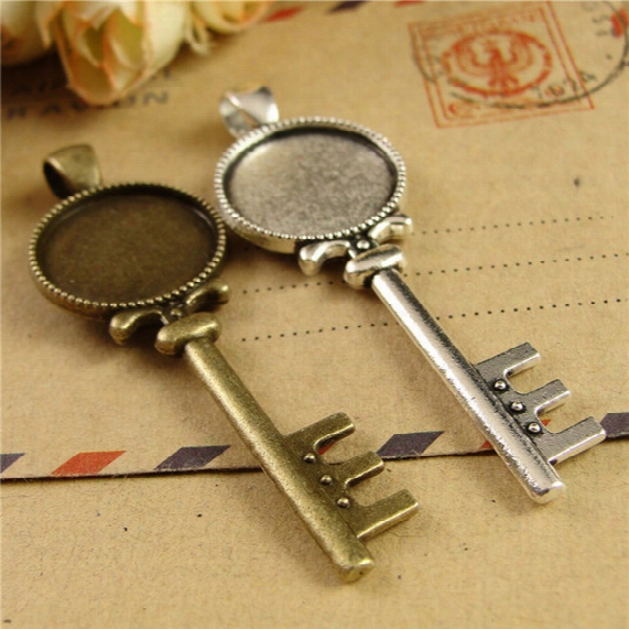 20*61mm Fit 18mm Key Charms Round Cameo Cabochon Setting, Antique Bronze Pendant Base Blank, Bulk Tibetan Silver Bezel Tray Metal Stamping