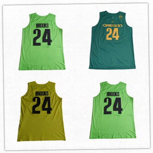 24 Dillon Brooks Jersey Cheap Stitched Green Yellow 2017 Oregon Ducks College Dillon Brooks Basketball Jerseys Uniform Free Drop Shipping