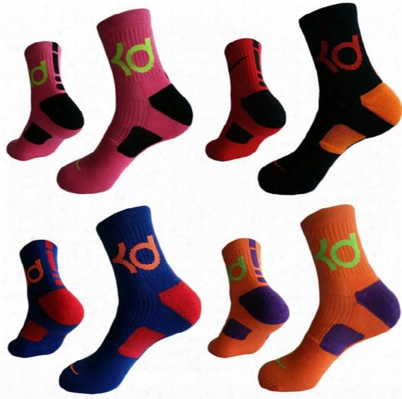 3 Pairs/lot Mens Kevin Durant Cotton Thick Bottom Towel Deodorant Socks High Kd Elite Basketball Football Soccer Sports Crew Sock
