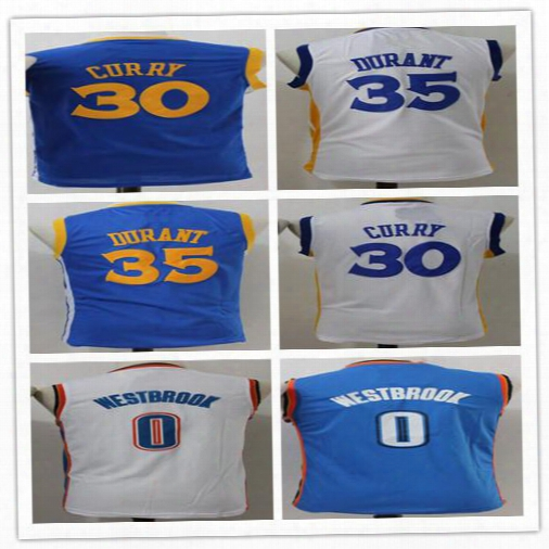 30 Stephen Curry Youth Jerseys Basketball Stitched Kids 35 Kevin Durant Jersey Cheap Blue White 0 Russell Westbrook Jersey Boys Wholesale