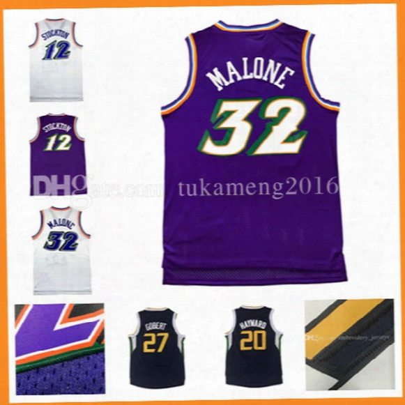 32 Karl Malone Throwback Basketball Jerseys Mesh 100% Stitched Men's Karl Malone Adult Jersey High-quality Fast Free Shipping