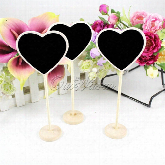 5pcs/lot Heart Shape Wooden Wood Chalkboard Blackboard Table Number Place Card Holder For Wedding Birthday Party -2mzhb