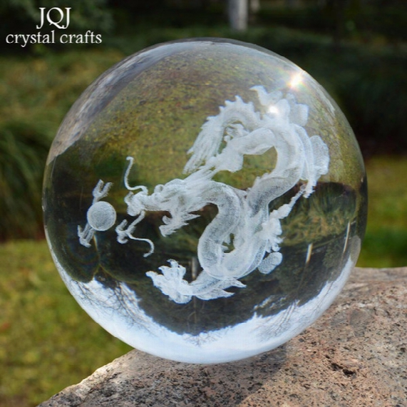 6 Cm Crystal Glass Dragon Verre Figurines Ball Paperweight Pure White Feng Shui Dragonballs Craft Gift For Home Buddhism Decoration