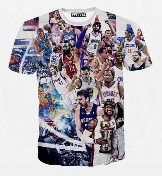 All-star Game Print 3d T Shirt Men/women Summer Casual Short Sleeve Tee Shirts Basketball Star Paparazzi T Shirt Tshirt Tops
