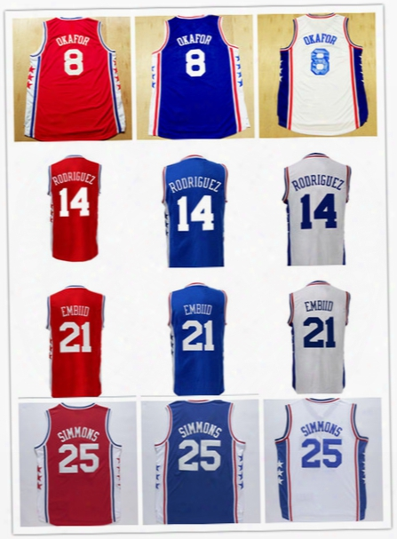 All Stitched 25 Ben Simmons Jersey 21 Joel Embiid 8 Jahlil Okafor 14 Sergio Rodriguez Basketball Sports Jerseys Color Red Blue White Cheap