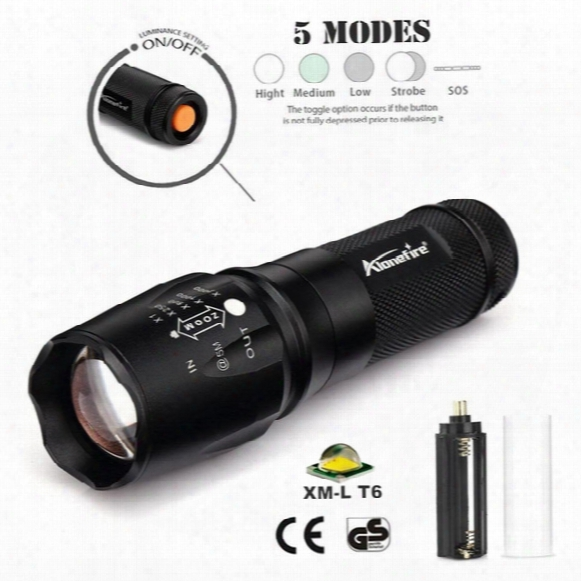 Alonefire X801 Cree Xml T6 Led 2000lm Zoomable Tactical Flashlights Torch For 18650/26650/aaa Battery