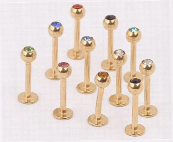 Anodized Stainless Steel 3mm Crystal Cz Gem 16g Gold Labret Lip Ring And Stud Fashion Nose Earring Body Piercingg Jewelry 50pcs/lot