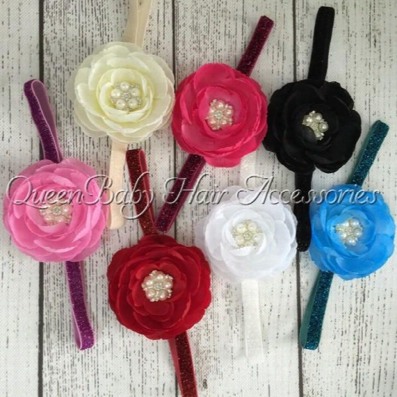 """Baby Headband Matching 2.8"""" Layered Ranunculus Flowers With Five Pearl Button In Center Hair Accessory 24pcs/lot Queenbaby"""