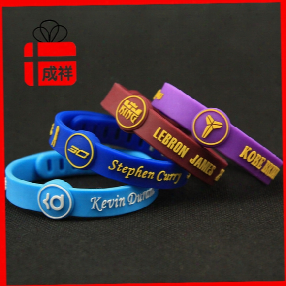 Basketball Star Sports Bracelet Silicone Wrist Kobe James Curry Durant Signature Adjustable Bracelets Free Size Wrist Silicone Bracelets 064