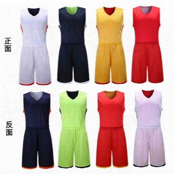 Benwon - Adult's Reversible Basketball Jerseys Sets Men Quick Dry Sports Clothe Double-sided Basketball Kits Sportswears Sleeveless Uniforms