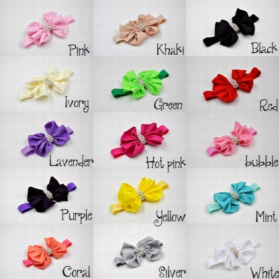 Big Bow Baby Headband With Floral Bow Rhinestone Hair Accessories Elastic Newborn Photography Props 15pcs/lot Queenbaby