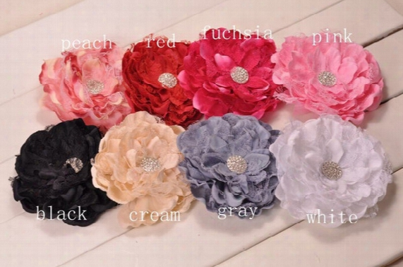 Big Lace Peony Flowers With Shiny Gem Center Brooch Hair Clips Trial Order 30pcs/lot Queenbaby