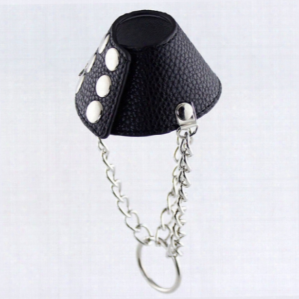 Mourning Pu Leather Parachute Ball Stretcher Scrotum Bondage Restraint Cock Ring Male Chastity Device Penis Cock Rings Sex Toys