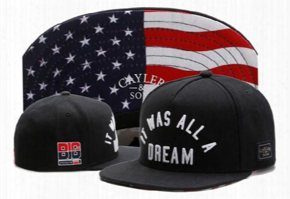Cayler & Sons Snapback Usa Flag It Was All A Dream ,men's Skateboard Adjustable Basketball Hats , Cheap Hiphop Bboy Flat Bill Caps