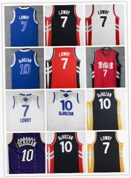Cheap #7 Kyle Lowry Jerseys Toronto 2017 Chines New Year Blue Red Black White Stitched #10 Demar Derozan Men Basketball Jerseys Mix Order