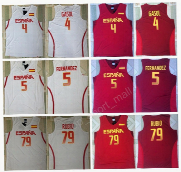 Cheap Spain Basketball Jerseys Red White Color 5 Fernandez 4 Pau Gasol 79 Ricky Rubio Jersey For Sport Fans All Stitching High Quality