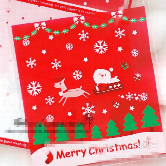 Christmas Gift Wrapping Bags Baking Food Plastic Packaging Bag Christmas Decorations Packaging Biscuit Dessert Cake Pastry Bags Wholesale