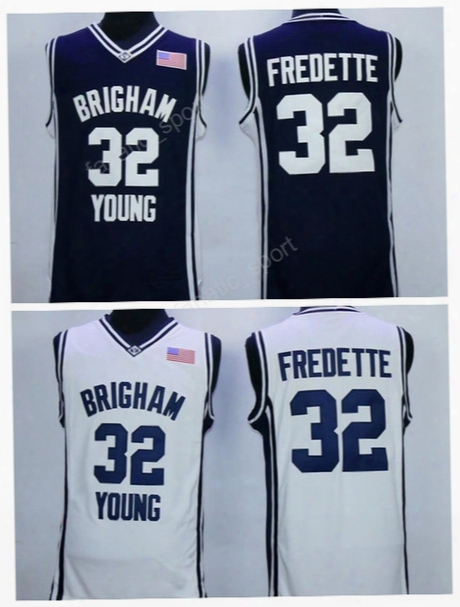 College 32 Jimmer Fredette Jersey Men Basketball Brigham Young Cougars Jerseys Sale Embroidery Navy Blue White Color High Quality