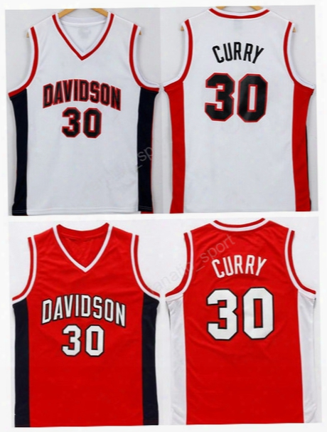 College Davidson Wildcats Jerseys Men Basketball 30 Stephen Curry Jersey Red White Team Color Embroidery And Sewing High Quality