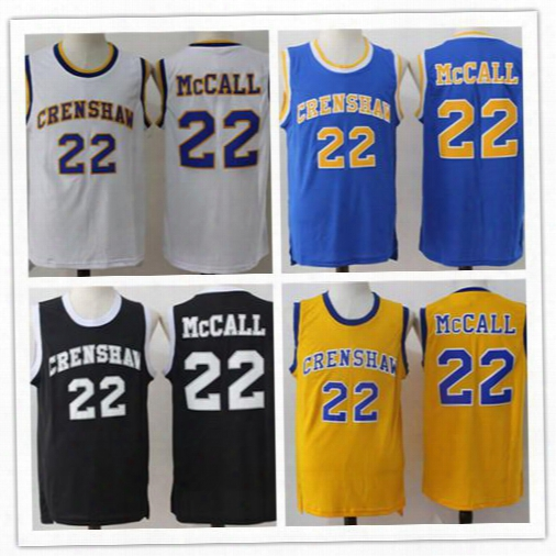 Crenshaw Quincy Mccall 22 Jerseys Basketball Movie Shirts Sports High School Black Yellow Blue White Quincy Mccall Uniforms Throwback