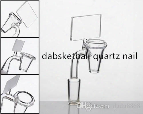 Dabsketball 90 Degree 18/14/10mm Male Female Clear Frosted Joint Backboard Quartz Banger Nail Water Pipe Glass Oil Rig Bong Fidget Spinner