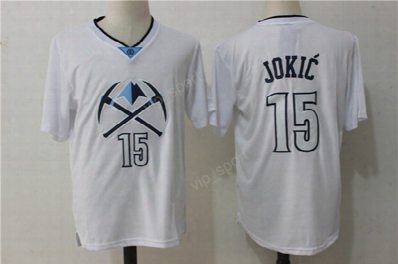 Denver 15 Nikola Jokic Jersey Men White With Sleeve All Stitched Nikola Jokic Basketball Jerseys Cheap For Sport Fans Fast Free Shipping