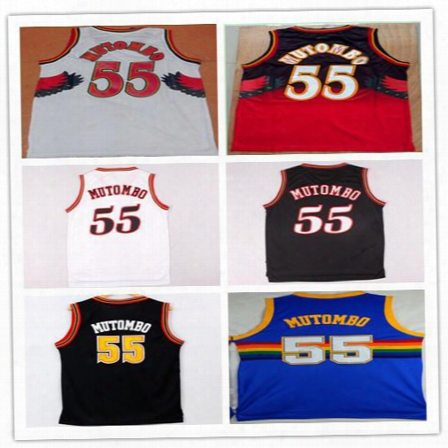 Dikembe Mutombo 55 Jersey Vintage Red White Black Blue Rainbow Throwback Stitched Mutombo Shirt Uniform Good Quality Sportsware