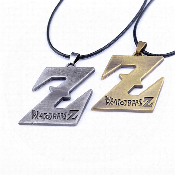 Dragon Ball Z Pendant Necklace Dbz Saiyan Logo Alloy Pendant Cosplay Leather Chain Necklaces Japanese Anime Dragonball Necklace For Men