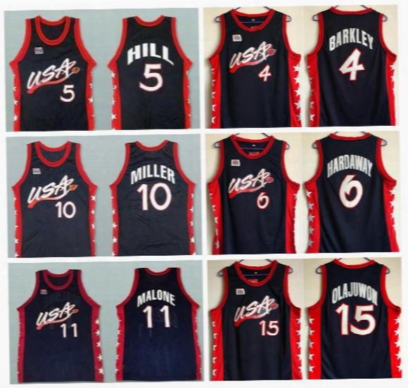 Dream Three Basketball Jerseys 1996 Usa 6 Penny Hardaway Jersey 4 Charles Barkley11 Karl Malone 15 Hakeem Olajuwon 10 Reggie Miller 5 Hill