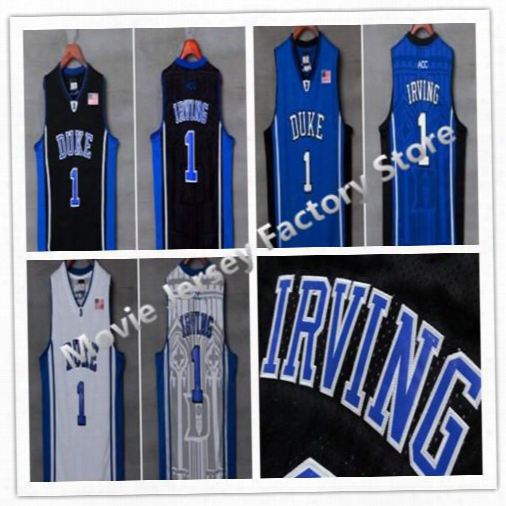 Duke Blue Devils #1 Kyrie Irving Jersey Blue/white/black College Basketball Jerseys High Quality Irving Duke Jersey