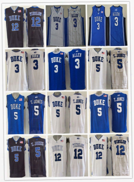 Duke Blue Devils College Basketball Jerseys Cheap 3 Grayson Allen 5 Tyus Jones 12 Justise Winslow Black White Blue,size S-xxxl
