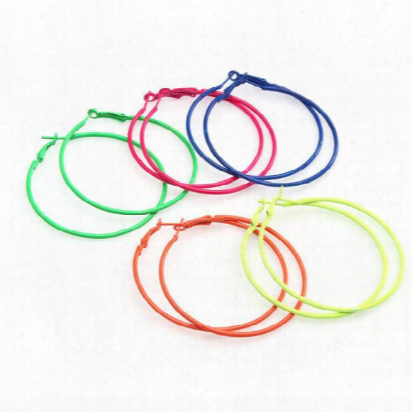 Fashion Candy Colored Metal Hoop Charm Basketball Wives Earrings For Diy Earrings Making 5pairs/lot