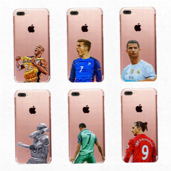 Fashion Cool Basketball Football Star Pattern Clear Pc Hard Case For Iphone 6 6s 7 Plus 4s 5c 5s Se Transparent Phone Cover