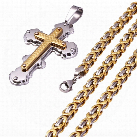 Fashion Sta Inless Steel Silver Goldd Tone Cross Necklace Pendant For Men Byzantine Chain Necklace Boys Gift 6mm 22inch Np80