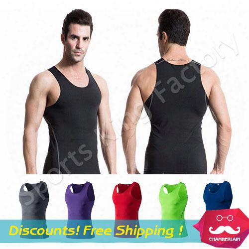 Fitness Training Vest 2017 Quick Drying Mens Sports Pro Tight Vest Basketball Fitness Joggung Sports Perspiration Wicking Clothes 1001