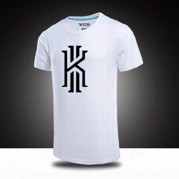 Free Shipping Wholesale Cheap Cleveland Basketball Kyrie Irving Logo Summer Fall Personality Male Short Sleeve T Shirt 5 Colors 100% Cotton