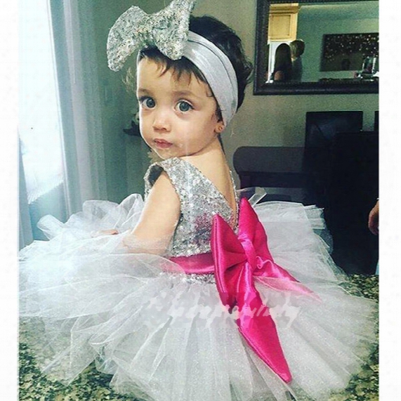Girl Ins Princess Hair Band Paillette Dress Kids Princess Party Birthday Lace Sleeveless Bowknot Dresses 2pcs Set Suit B001