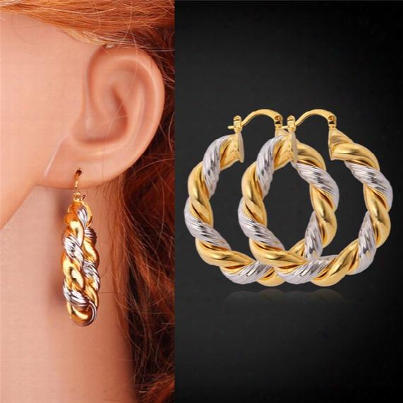 Gold Hoop Earrings 18k Gold/platinum Plated Two Tone Earrings Basketball Wives Hoop Earrings For Women Girls