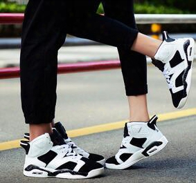High Help 6 Basketball Shoes Oreo Air Men's Shoes Boots Black And White Sneakers Lov Ers