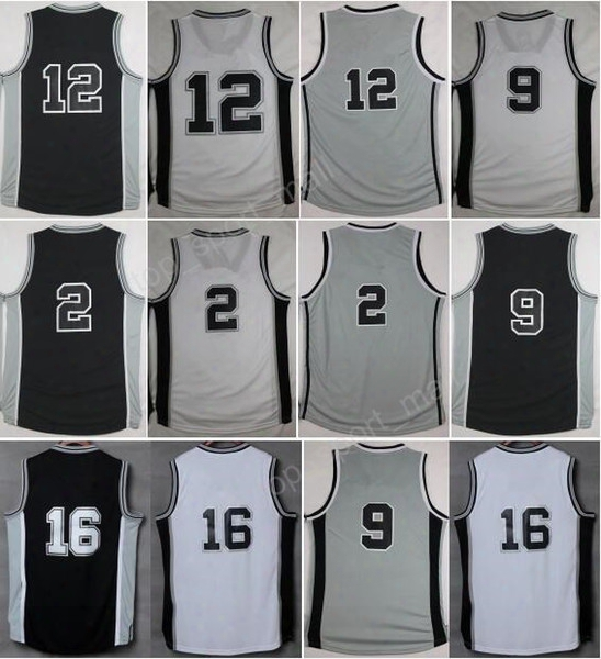 High Quality 12 Lamarcus Aldridge Jersey 20 Manu Ginobili 2 Kawhi Leonard 9 Tony Parker 16 Pau Gasol Basketball Jerseys With Player Name