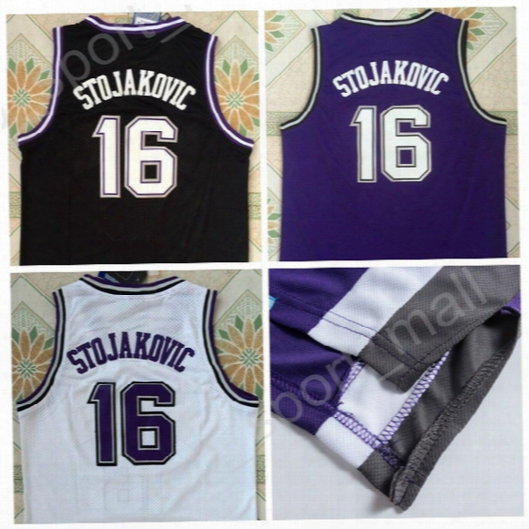High Quality 16 Peja Stojakovic Jersey Men Throwback Stitched Stojakovic Basketball Jerseys For Sport Fans Vinatge Black Purple White Color