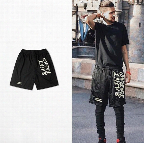 High Quality Mesh Basketball Shorts Breathable Black Saint Pablo Shorts Knee Length Street Sport Hip Hop Style