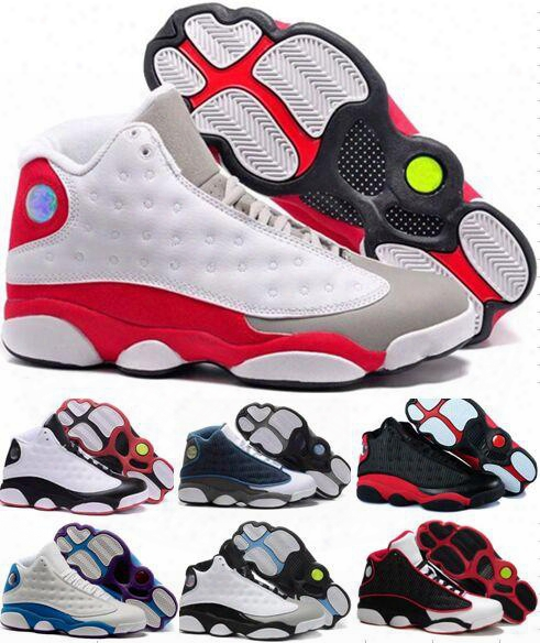 High Quality Retro 13 Xiii 13s Basketball Shoes Sport Shoes Men Leather 13s Black Toe 13s Bred Navy Game Grey Toe Flint Grey Sneakers 5-6-12