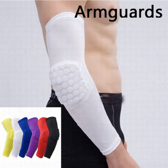 Honeycomb Elbow Pads Extended Anti-collision High Elastic Arm Guard Professional Football Basketball Sports Gera