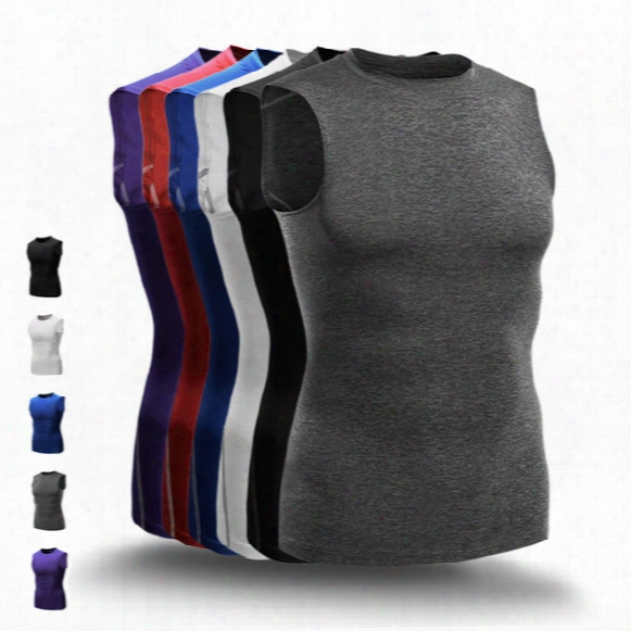 Hot Fashion Basketball Vests Men Compression Tank Top Gym Fitness Running Vests Male Sports Sleeveless Tshirt Gym Clothing Wear R02