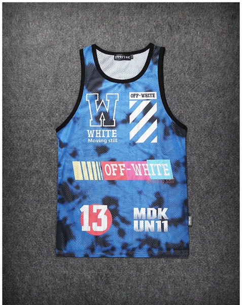 Hot Instagram Men Lovers Off White Camo Stripe No.13 Contrast Color Grid Mesh Hiphop Basketball Sleeveless Shirt Tank Top Vest