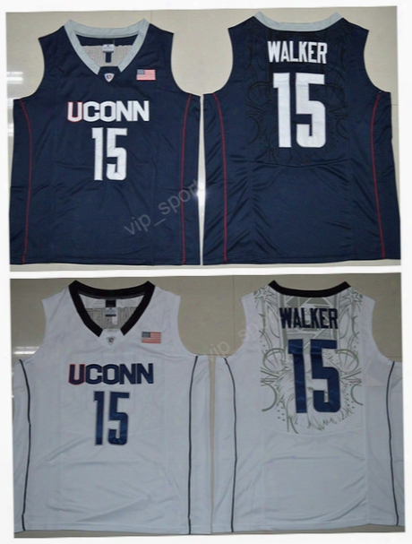 Hot Men 15 Kemba Walker College Jerseys Uconn Huskies Basketball Kemba Walker Jersey Navy Blue White Team Color Embroidery Free Shipping